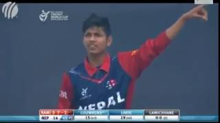 First nepali player in IPL Sandip Lamichanne magical spin Best bowling  All wicket