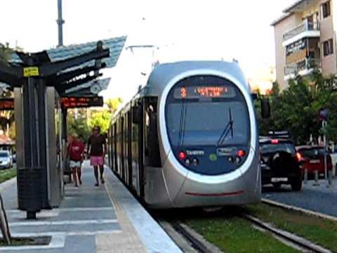 Tραμ Αθήνας - Athens tram line 3 EMU running along the...