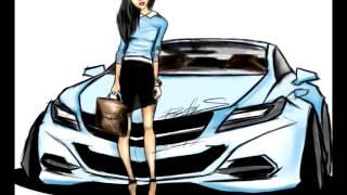 Рисунок   девушка у автомобиля   Скетч   concept