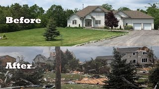 Canada tornado, before and after, Dunrobin tornado Gatineau, Ottawa area, Quebec