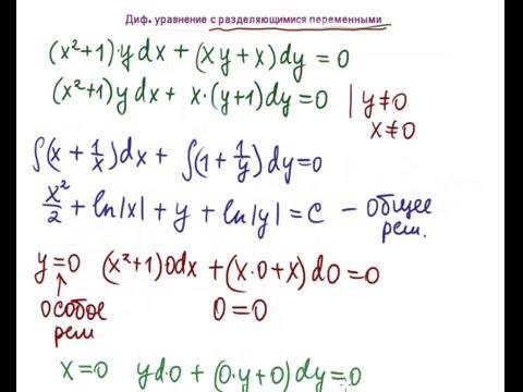 Диф.  уравнения с разделяющимися переменными
