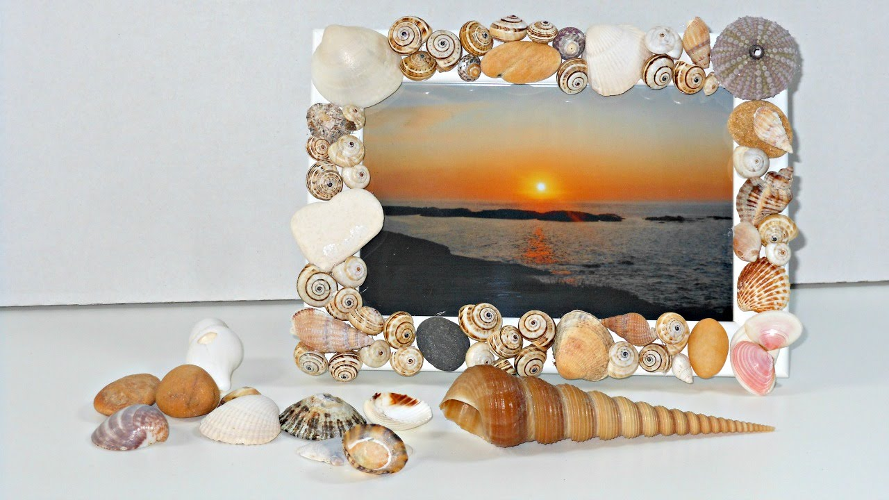 Cómo decorar un marco de fotos con conchitas de playa Mundo@Party YouTube