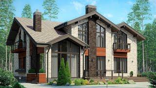 Проект дома в скандинавском стиле 250 кв м с крытой террасой, 5 спален | Ремстройсервис М-290