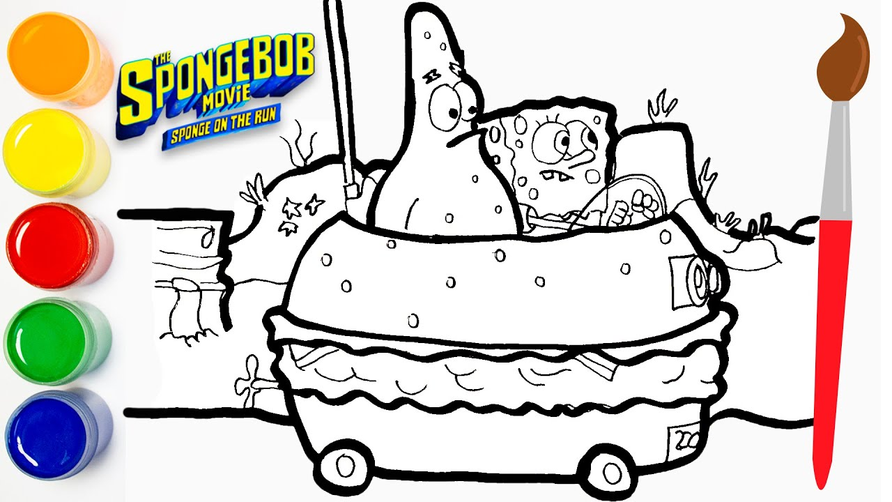 Como Dibujar Y Colorear The Bob Esponja Película Sponge On The Run Carro Hamburguesa Cat Color Youtube