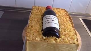 """Торт """"Ящик с бутылкой вина"""""""