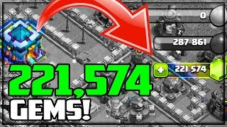 221,000 GEMS! Clash of Clans GEM TO MAX Town Hall 13
