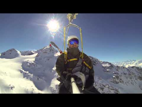 The Tyrolienne Zip Line At Val Thorens, France - GoPro Pole!