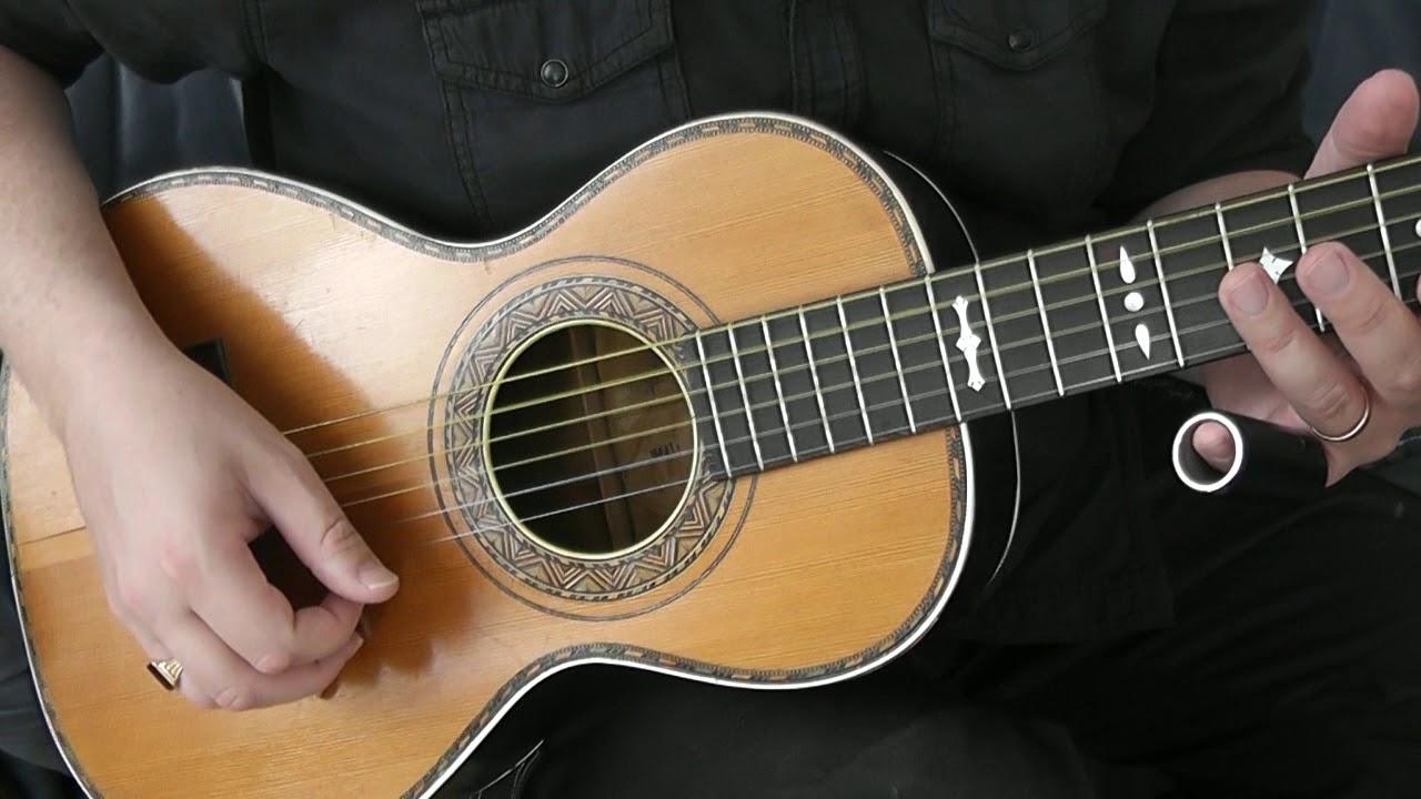 Slide blues on a vintage 1912 parlor guitar!
