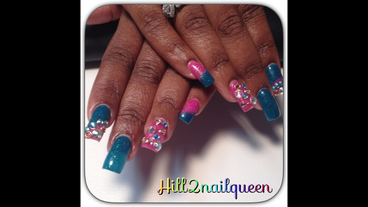 Pretty Pink Color Acrylic Nail Design With Swarovski Crystals Youtube