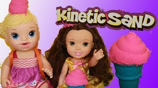 Baby Alive & Belle EAT SAND Ice Cream Cones KINETIC SAND Sweet Treats Ice Cream Sundae Toy Review