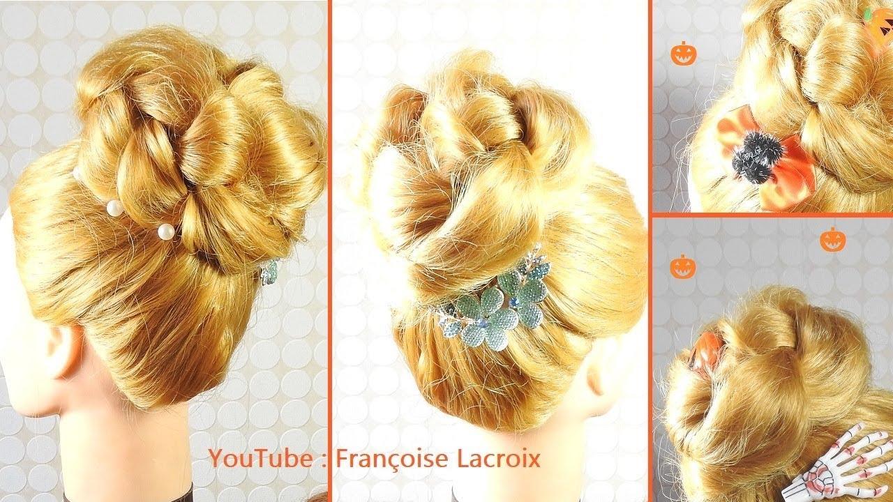 Tuto coiffure chignon haut facile | Easy top bun hairstyle | Peinado Recogido alto fácil - YouTube