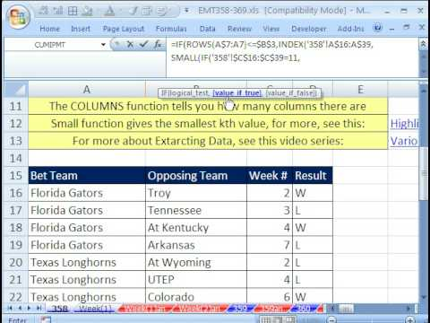 Excel Magic Trick 358: Part 1: Return Multiple Items From One Lookup Value for Table w Formula
