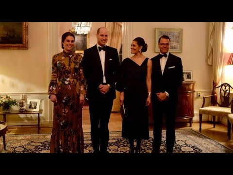 William & Catherine Attend Black Tie Dinner Attended By Swedish Royal Family  &x00a31945; Erdem Gown