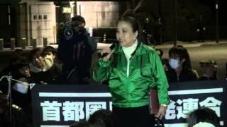 2014年1月31日国会正門前スピーチエリア・湯川れい子さんと細川佳代子さ...