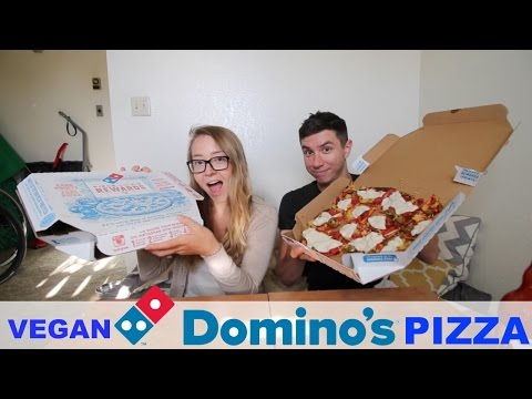 DOMINOS PIZZA WITH VEGAN CHEESE | MUKBANG