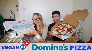 DOMINOS PIZZA WITH VEGAN CHEESE   MUKBANG