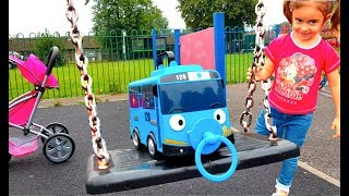 Little Bus in Real Life Going to the Playground / Slides and Swing
