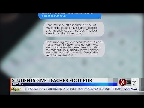 Students give teacher foot rub