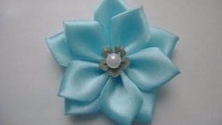 ЦВЕТОК ИЗ ЛЕНТЫ  канзаши ///// Flower Ribbon kanzashi