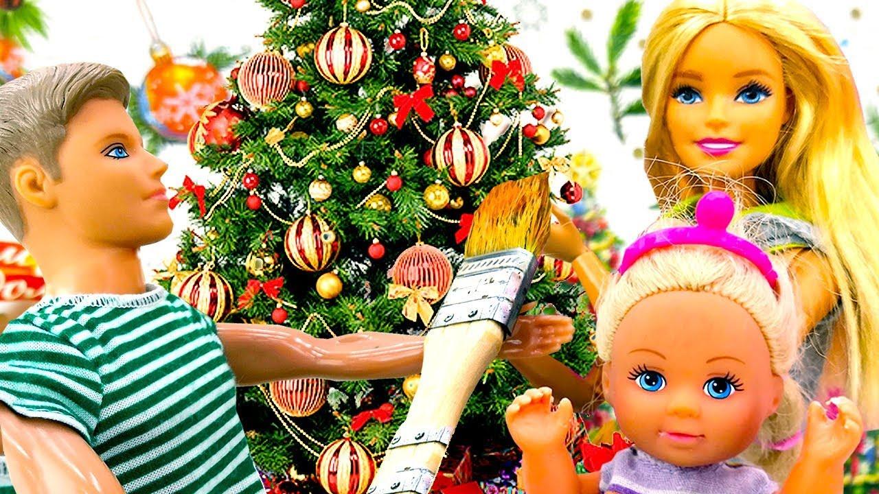 Куклы Кен и Штеффи покупают елку для Барби! - YouTube