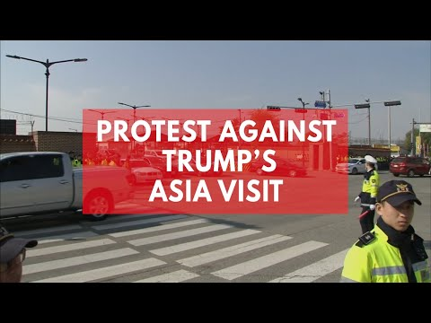 South Koreans and Filipinos protest against Donald Trump