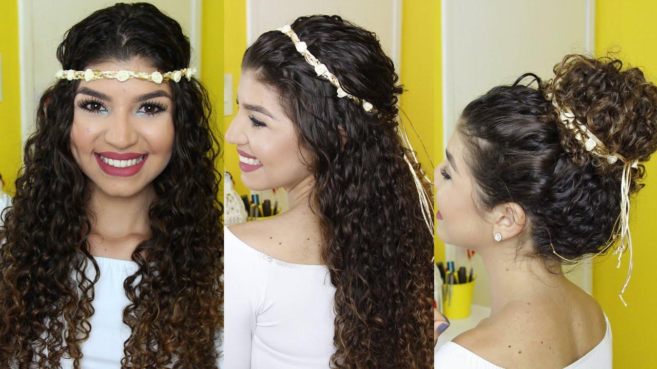 penteados cabelos cacheados - Para casamento