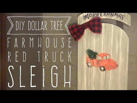DIY Dollar Tree Farmhouse Red Truck Sled