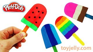 How To Make Play Doh Popsicles with Ice Cream Molds Learn Colors Baby Toy Fun and Creative for Kids