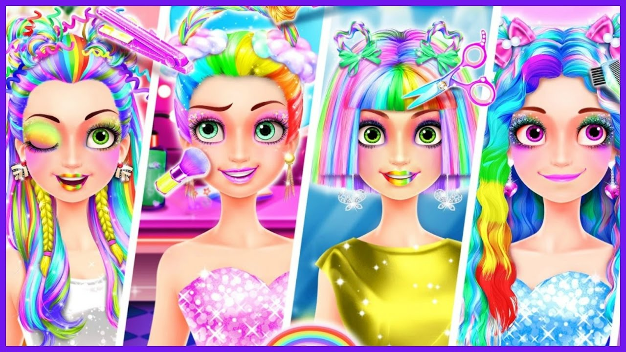 Hair Styling Games Online: Rainbow Hair Salon