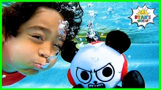 Ryan Pretend Play Swimming Underwater Pool Adventure!!!!