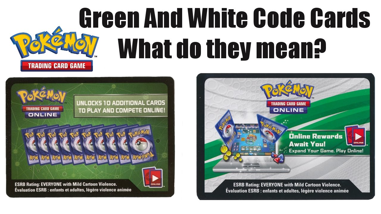 Green and White Pokemon TCGO Code cards - What's the difference mean?