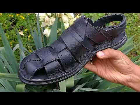 Men's Black Buffalo Leather Fisherman Sandal