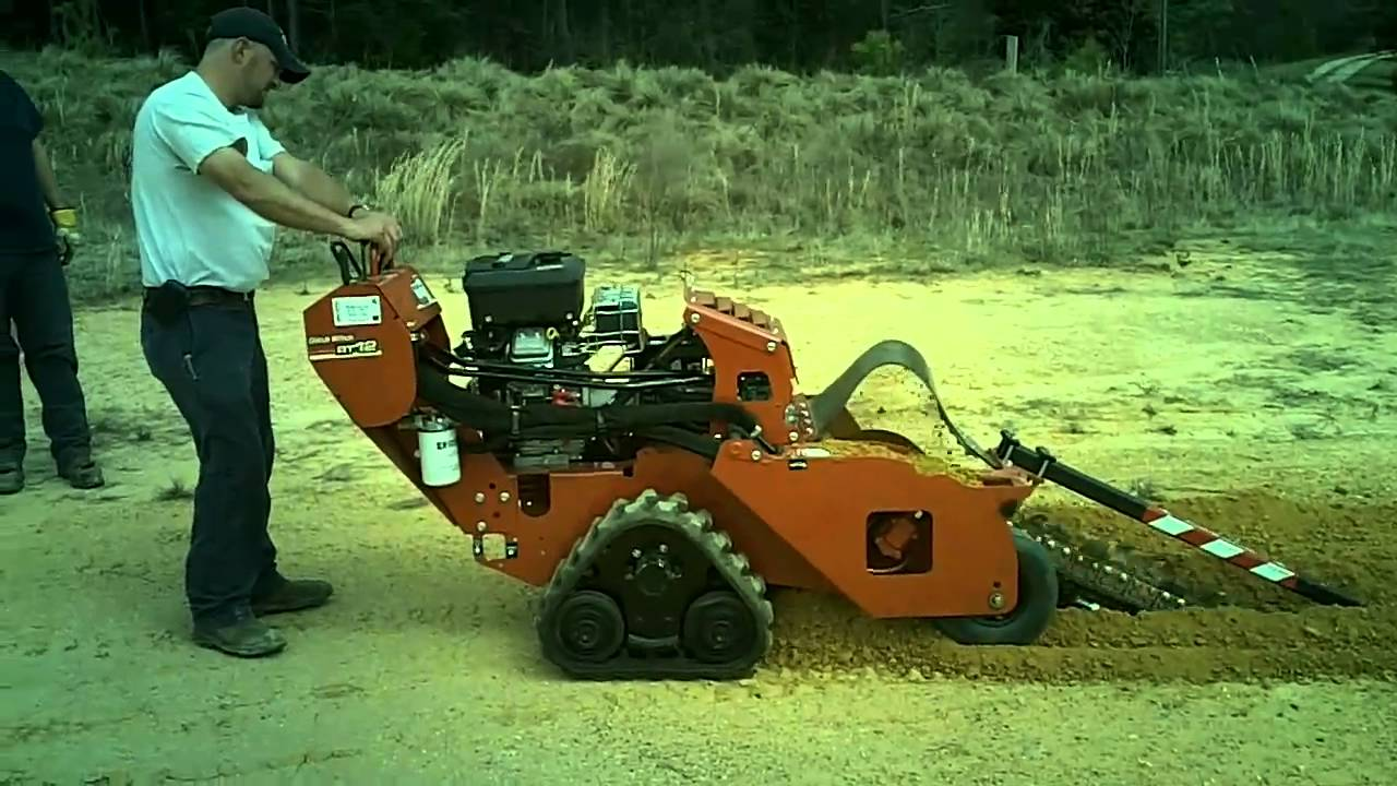 Trenching Machines Working : Ditch witch rt track walk behind trencher doovi