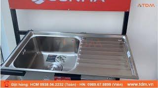 TDM.VN | Chậu inox Sơn Hà S78 | S78D - Bồn rửa chén bát sus 304 1 ngăn 1 cánh cao cấp