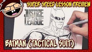 Lesson Preview: How to Draw TACTICAL SUIT BATMAN (Justice League) | Super Speed Time Lapse Art