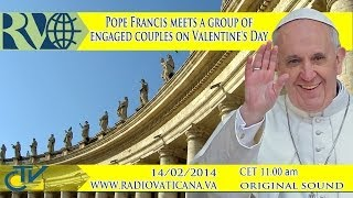 Pope Francis meets a group of engaged couples on Valentine