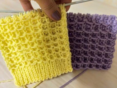 Интересный 3D вафельный узор. Вязание спицами.