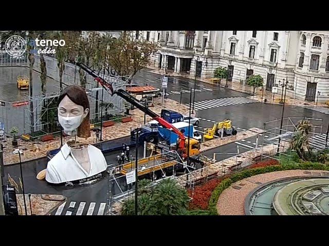 Desmontaje de la Falla de la Plaza del Ayuntamiento 2020