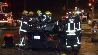 Surrey Fire Department T-bone Vehicle Accident Auto Extraction 160 St & 104 Ave