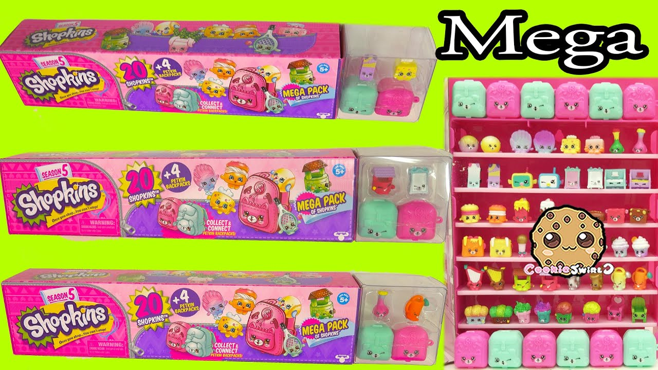 all 3 shopkins season 5 mega 20 packs complete set unboxing