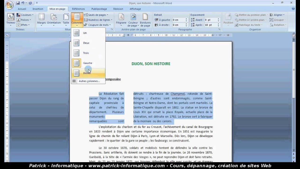 tuto cr u00e9er des colonnes  word 2007