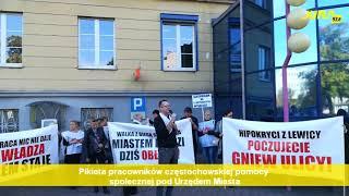Pikieta pracowników częstochowskiej pomocy społecznej pod Urzędem Miasta