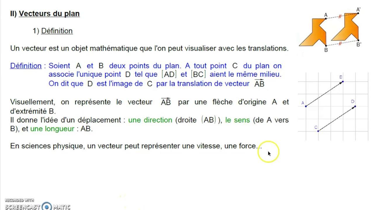 G1 Géométrie analytique II1 Vecteurs définition - YouTube