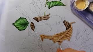 Ninho do passarinho – Vídeo 2 – Pintura em tecido