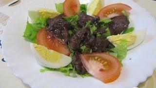 Салат с куриной печенью, обжаренной в порто  Пошаговый рецепт с фото