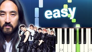 Steve Aoki & Monsta X - Play It Cool (100 EASY PIANO TUTORIAL)