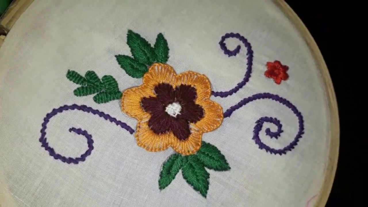 Hand Embroidery Design Simple Flower Design Tutorial 2 Youtube