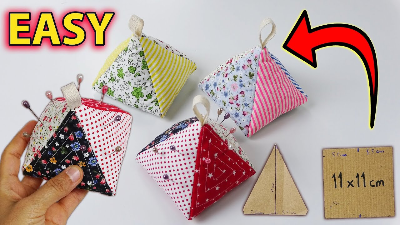 DIY PINCUSHION FROM LEFTOVER FABRICS / Recycling Of Waste Fabrics / Pyramid / Easy Sewing Tutorial