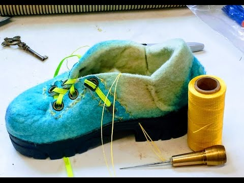 Sewing a Sole/ Shoe with a cobbler's Awl:  Episode 31