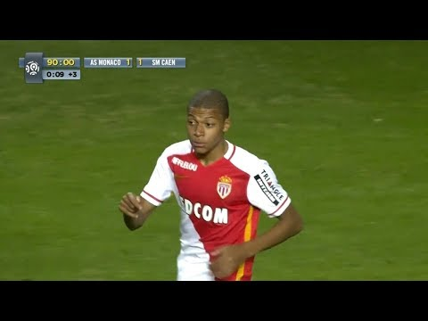 Kylian Mbappé vs SM Caen (16 Years Old Professional Debut for AS Monaco) 02.12.2015